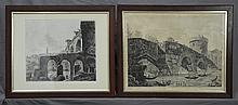 ROSSINI, Luigi (Italian 1790-1857) (2) <br> 'Avanzi del Portico del Tempio della Pace,' 1821; & 'Ponte Lucano tre miglia da Tivoli, sotto il quale passa l' Aniene,' 1825.
