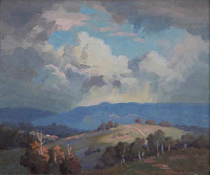 LANGKER, Erik (1898-1982) 'Sky Drama' Oil on Board