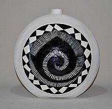 American Indigenous South West Moon Flask.  White earthenware with black an