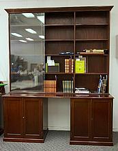 Glass Top Bookcase.  Extensive top section with sliding doors. 4 doors belo