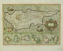 MAP, 17th C Map of Cyprus.  Cyprus Insular by Mer