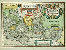 MAP, 17th C Map of Mediterranian Sea.  Aeneae Tro
