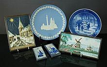 4 Various Delft De Porcelyne Fles Tiles etc.  Tub