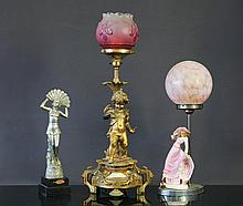 2 Early Electrified Table Lamps Etc.  Incl. 1 wit