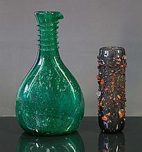 2 Various Art Glass Items.  Incl. grey glass vase