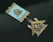 Sterling Silver Masonic Medal.  Mascot Lodge No.8