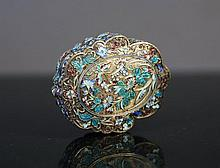 Eastern Enamelled Covered Box.  Lobed shape, enam