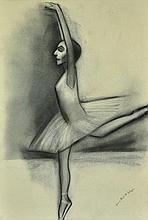 DICKERSON, Robert (b.1924) 'Arabesque' Charcoal on