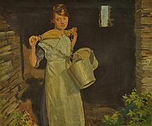 LEIST, Fred (1878-1945) 'A Cornish Milk Maid.'