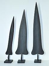 3 Various African Iron Spear Tips. Hand formed