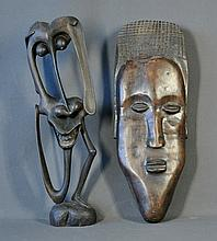 2 Various African Carvings. Dense hardwood mask