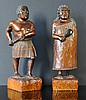 2 Early 20th C Maori Carved Figures. Woman in