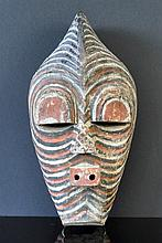 Congo Initiation Mask. Black ridges with white &