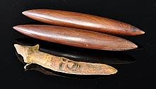 3 Aboriginal Artefacts. Pair dense wood clap