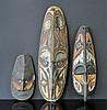 3 Various PNG Masks. 2 hooked beak totemic masks