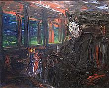 Jack Butler Yeats RHA, 1876-1957 MAN IN A TRAIN THINKING (1927) Oil on canvas, 18'' x 24'' (46 x 53.5cm), signed.  Provenance: Ex collection of Terence de Vere White; James Adams, 1974 (lot 51); Private Collection, Dublin; Adams Important Irish Art Auction, 5th December, 2006 (lot 34); Private Collection, Dublin.   Exhibited: 'Jack B Yeats' exhibition, The Tooth Gallery, London, March-April 1928, Cat No. 14;.   The Royal Hibernian Academy Annual Exhibition, 1929, Cat No. 27; 'Jack B Yeats - Later Work' exhibition, Contemporary Picture Galleries, Oct-Nov 1941, Cat No. 8  where purchased by  Terence de Vere White; Jack B Yeats - National Loan Exhibition', National College of Art, Dublin, June-July 1945, Cat No. 60. 'Society of Scottish Artists 52nd Exhibition', Royal Scottish Academy, Edinburgh, Spring 1946, Cat No. 147; 'Jack B Yeats Loan Exhibition', Temple Newsam House, Leeds, June-Aug 1948; 'Jack B Yeats Loan Exhibition', The Tate Gallery, London, August-September 1948, Cat No. 11. This exhibition was organised by the Arts Council of Great Britain and travelled on to the Aberdeen Art Gallery and Edinburgh, Royal Scottish Academy; 'Jack B Yeats - A Selection of Paintings' exhibition, Sligo County Library and Museum, August-September 1960, Cat No. 19;'Jack B Yeats - Loan Collection' exhibition presented by Sligo Arts Society, The Town Hall, Sligo, August 1961, Cat No. 56; 'Jack B Yeats - A Centenary Exhibition', The National Gallery of Ireland, Dublin, September - December 1971, Cat No. 47;'Jack B Yeats - A Centenary Exhibition', The Cultural Centre, New York, April-June 1972, Cat No. 47.    Literature: Hilary Pyle, 'Jack B Yeats' - A Catalogue Raisonne of the oil paintings Vol I No. 349, page 317 - full page black and white illustration Vol III, page 146.