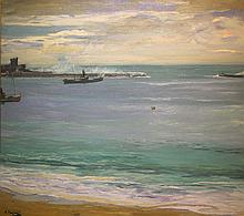Sir John Lavery RA RSA RHA, 1885-1941 STEAMERS IN THE HARBOUR, ST JEAN DE LUZ Oil on canvas, 24'' x 29 1/2'' (61 x 75cm), signed. Provenance: James Adam, Dublin, 1989; London, Sotheby's, 16 May 2003; Whyte's, Dublin, 14 March 2011; Private Collection, Co Louth.  Exhibited: Edinburgh, Royal Scottish Academy, 1920, No. 187
