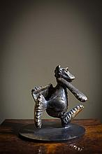Patrick O'Reilly, b.1957 BEAR CARRYING A PAINTING Bronze, 9 1/2'' high (24cm), signed and dated 2002