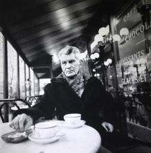 John Minihan,Contemporary SAMUEL BECKETT PHOTOGRAPHED AT THE CAFE FRANCAIS, BOULEVARD ST. JACQUES Photograph, 40'' x 35 1/2'' (102 x 90cm), signed and inscribed