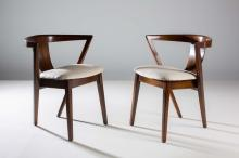 A SET OF SIX BENTWOOD CHAIRS, 1960s, with bentwood curved backs, on taperin