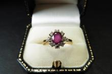 Pre-owned 18ct yellow and white gold ruby and diamond cluster ring