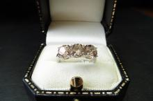 Pre-owned 18ct white gold diamond three stone ring