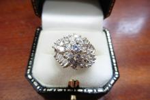 Pre-owned 14ct yellow gold diamond cluster cocktail ring
