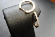 18ct yellow gold ½ hoop style diamond earrings