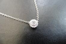 White gold diamond set flower style pendant