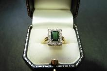 Pre-owned 18ct gold emerald and diamond band ring