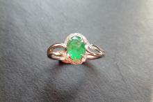 9ct white gold emerald and diamond dress ring