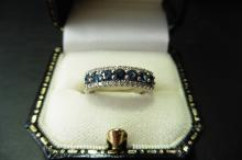 Pre-owned 9ct gold sapphire and diamond band ring