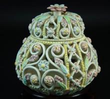 An Italian porcelain pot