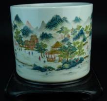 A famille rose enameled porcelain brush pot