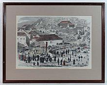 Chinese XIX Hand tinted print ' Manners and