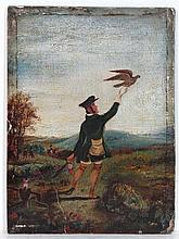 English School Early XIX Oil on board Falconer