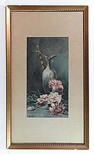 J. A. B. 1923 Watercolour Carnations and ewer