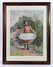 Victorian School Watercolour Girl with lined