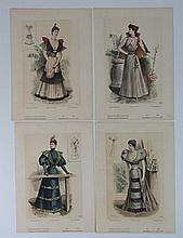 French Fashion Prints 4 hand coloured 1893 prints