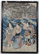 Japanese ukiyo-e woodblock A polychrome depiction