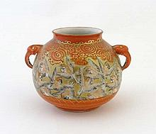 A Japanese Kutani 2-handled pot painted with a