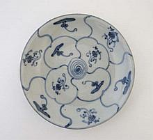 A Chinese lotus bowl painted in blue with scroll