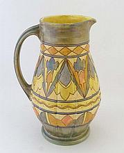 A Charlotte Rhead jug by Burleyware, shape 655,