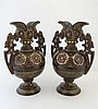 A pair of Continental stoneware 2-handled vases,