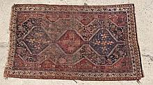 Rug / Carpet : an antique Caucasian rug , a flat weave woollen rug with some loo