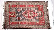 Carpet / rug : an old rug with Chequer board, latch hook style and geometric pat