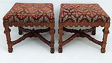 A pair of 18thC / 19thC walnut carved square legs stools with X-frame stretchers