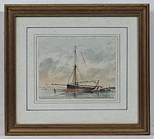 XIX Marine School  Watercolour  A moored French Lugger sail boat  3