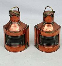A pair of ships lanterns of brass and copper construction marked ' Bow Port  Pat
