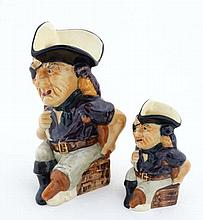Two Crown Devon '' Long John Silver '' character jugs, bearing factory stamps to
